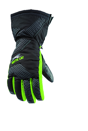 Arctic Cat Adult Team Arctic Hi-Cuff Insulated Leather Gloves Green Black
